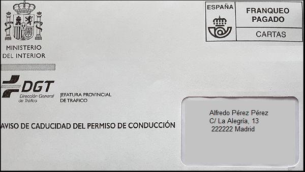 carta de aviso renovar carnet conducir